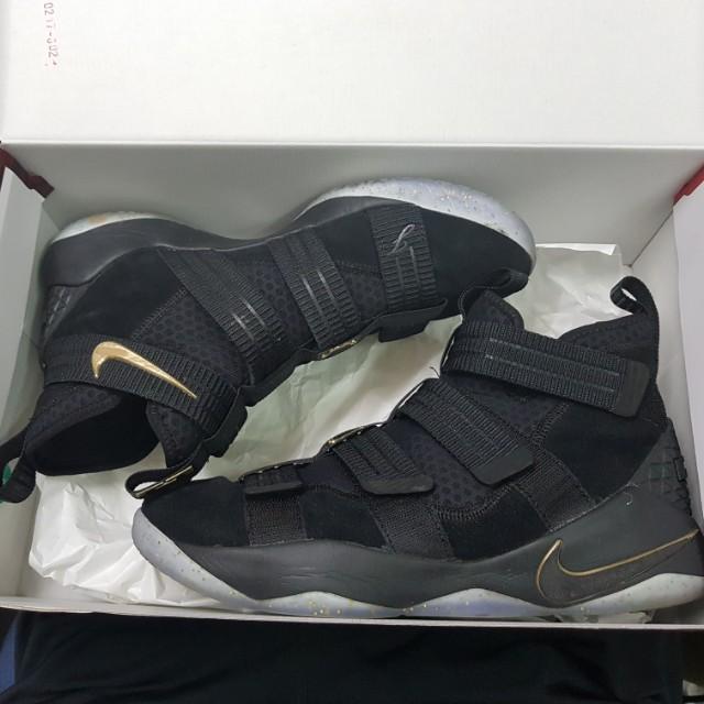 bad750047b8 Nike lebron soldier 11 sfg black gold basketball shoe zoom air ...