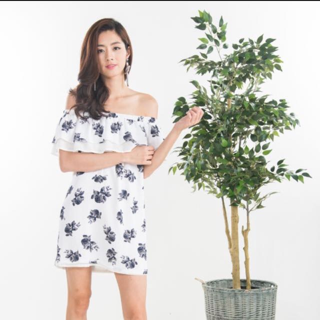 02e033018b23 Ninth Collective RHEA FLORAL OFF SHOULDER DRESS IN WHITE