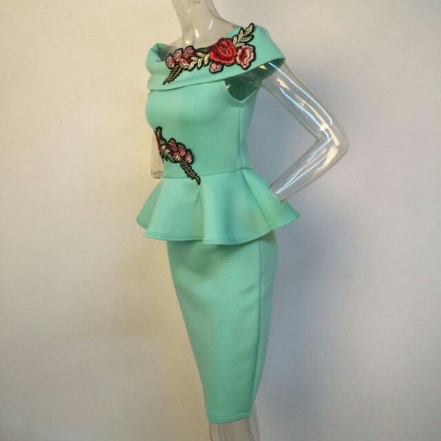 Office Lady Rose Embroidery Patchwork Wrap Dress
