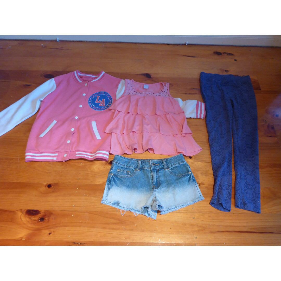 Ombre shorts, pink frill top, purple lace patterned pant tights, and a pink and white  jacket (Girls clothing)