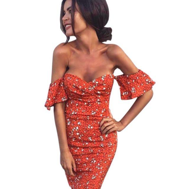 (+postage)Floral Printed Pencil Dress