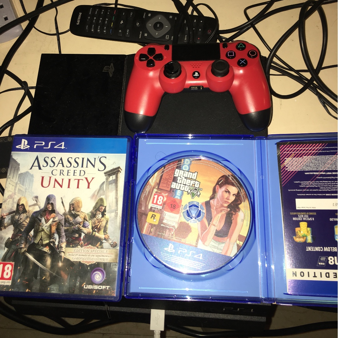 Ps4 Red Remote Assassin Creed Unity Gta 5 Fifa 17 Fifa17 Standard Playstation 4 Toys Games Video Gaming Consoles On Carousell