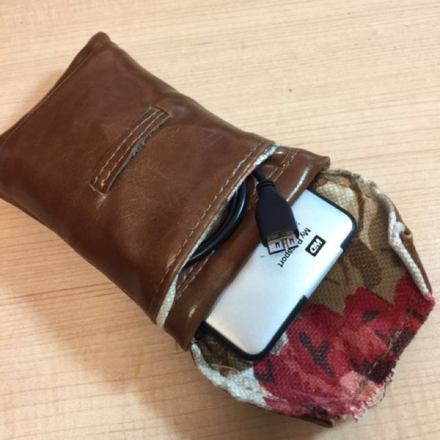 Real leather, cushioned lined Hard disk pouch
