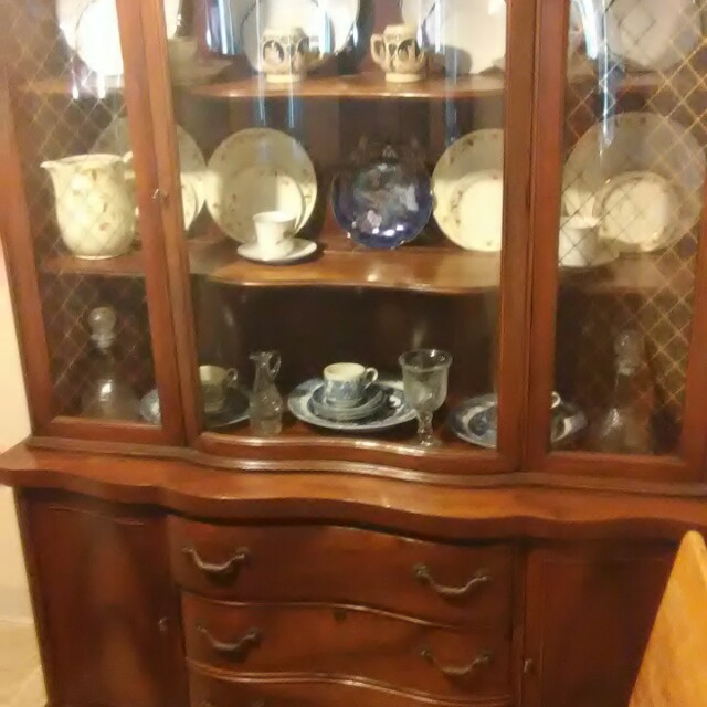 Red Cherry Wood China Cabinet Home