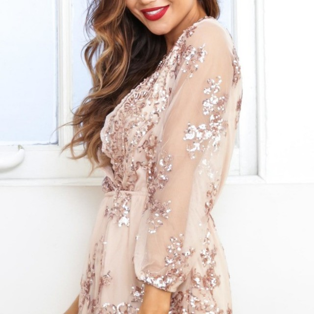 Rose gold sequin playsuit
