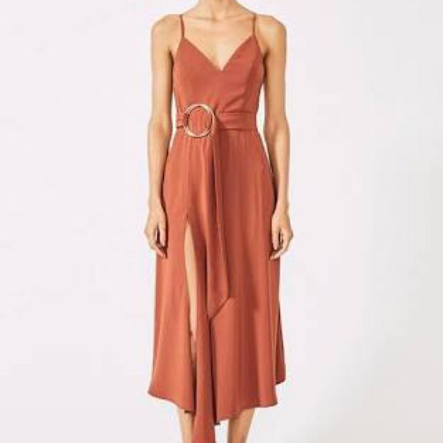 Shona Joy Voltaire Cocktail Dress with Rings Rust