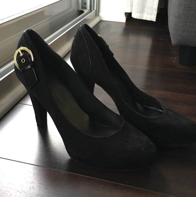 Size 7.5 suede heels with gold buckle