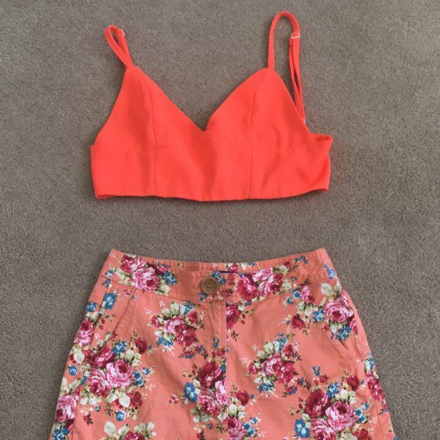 Size 8 bralette size 8 Highwaisted shorts