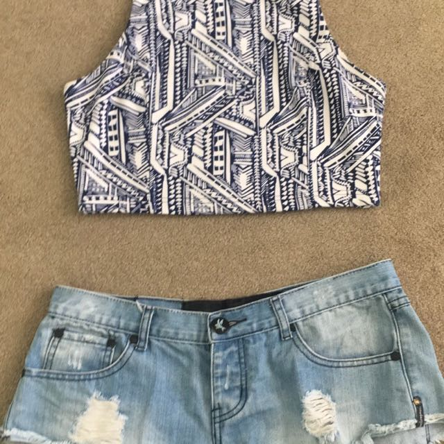 Size L crop and Size 10 shorts