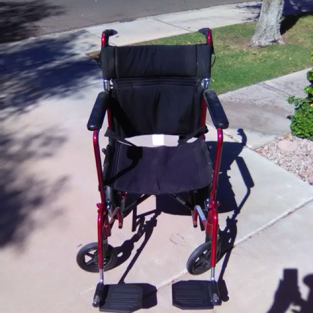 """Slightly Used NOVA Medical Products 19"""" Lightweight Transport Chair with 12"""" Rear Wheels & Hand Brakes, Red"""