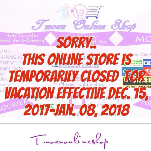 Sorry.. this online store is temporarily closed for vacation effective Dec. 15, 2017 until Jan. 08, 2018.  Thank you.