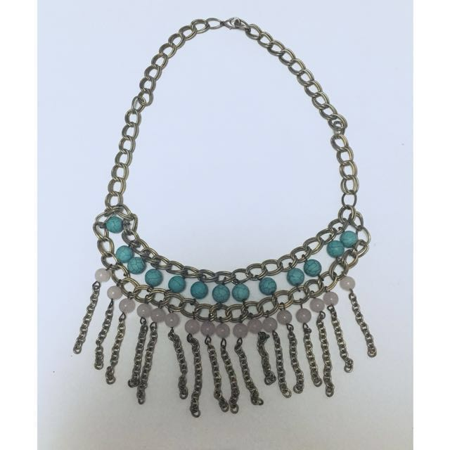 Statement Necklace with turquoise and pink quartz