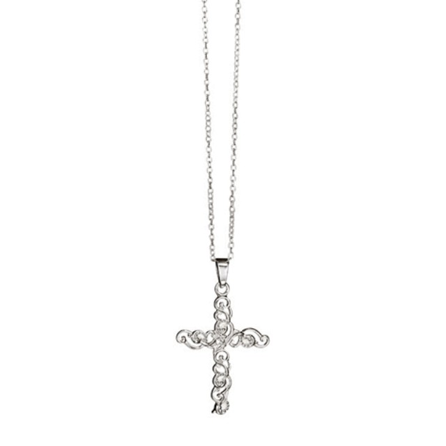 Sterling Silver Delicate Filigree Cross Necklace