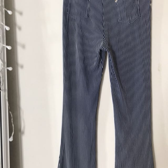 stripped straight legged pants
