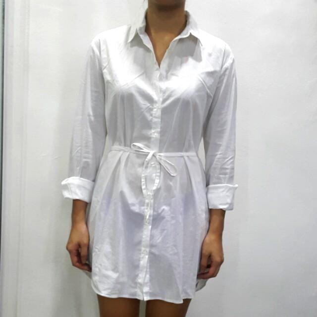 Tip Ten White Buttondown shirt dress