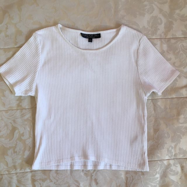 Topshop ribbed slightly cropped shirt