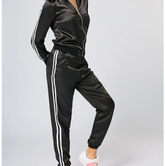 Two piece silky tracksuit set