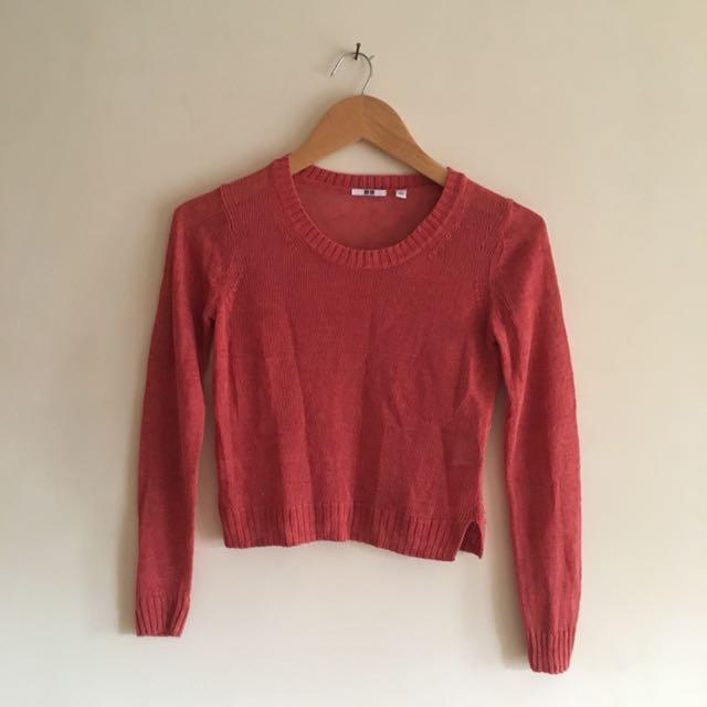 Uniqlo orange net sweater