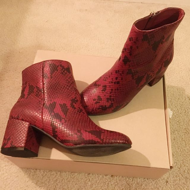 Urban Outfitters Red Snake Boots