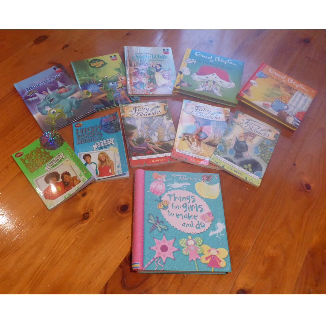 Various FUN kids/ children's books, including 'Things for girls to make and do', Walt Disney/Disney Pixar books, Enid Blyton books, Fairy Chronicles, and High School Musical books