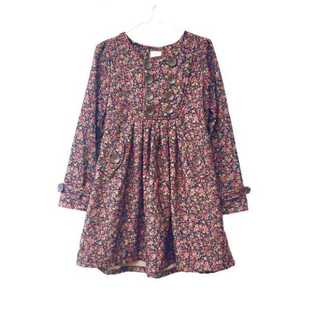 Vintage ::: 森林系迷幻小碎花好質感綁帶毛呢古著洋裝