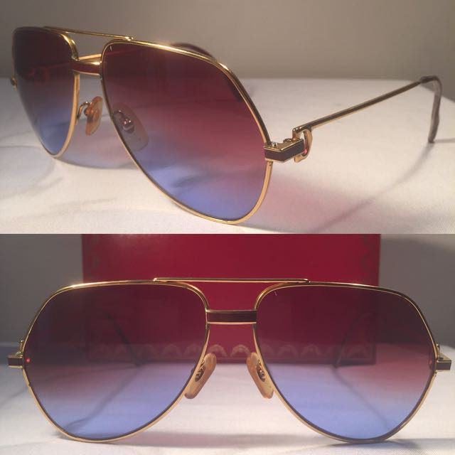 4ab646c3862b VINTAGE CARTIER SUNGLASSES VENDOME RED LACQUE Made in France 59  14 ...