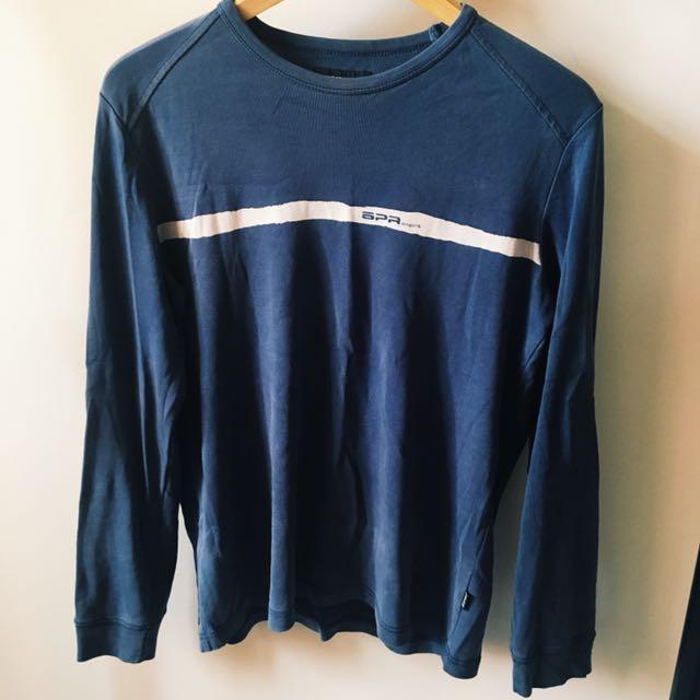 vintage esprit long sleeved dark blue top, size large.