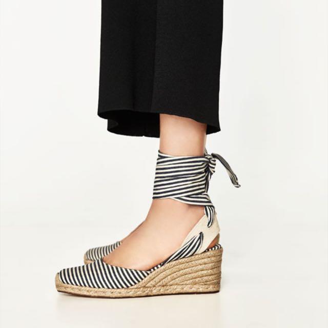 Zara 夏日 🌞條紋綁帶坡跟鞋