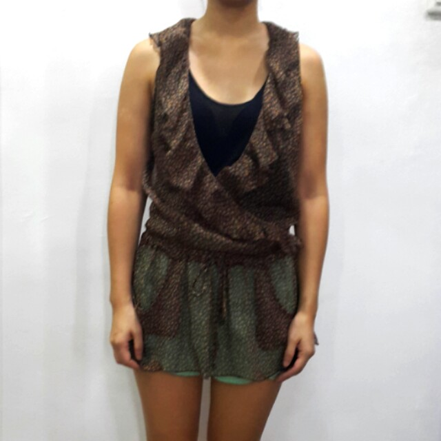 Zara TRF brown floral print blouse
