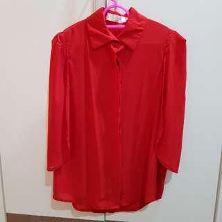 Elegant Red bat sleeves top