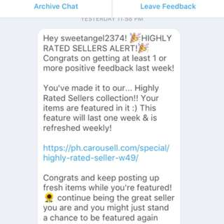 Thank You Carousell for choosing me as one of the highly rated Seller...!!!I  It such a great pleasure to be one of your choice...!!!