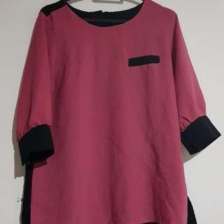 Atasan pink hitam
