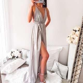 Evening formal silver dress