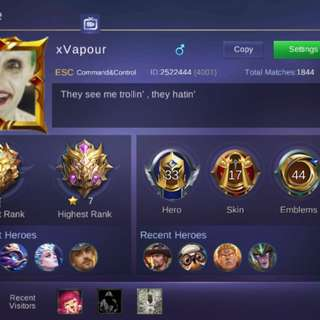 Mobile Legends Account(CHEAP) /Reached mythic