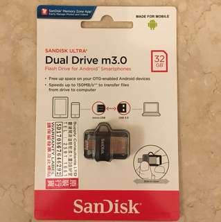 Sandisk Ultra Dual Drive m3.0 Flash Drive for Android Smartphone 32GB