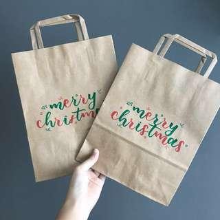 customised christmas kraft paper bags