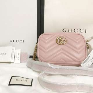 New Gucci Mini GG Marmont Camera B Baby Pink