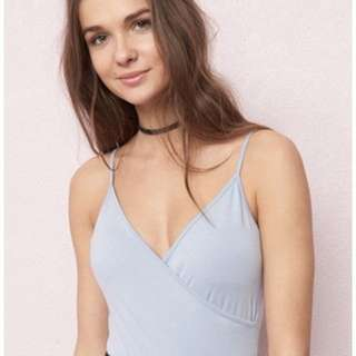 Garage wrap cami body suit light blue