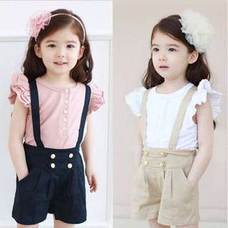 (PO) Baby girl - lace sleeve and short suit Korean Version