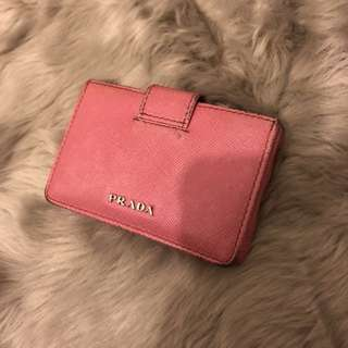 Prada pink card holder wallet 銀包