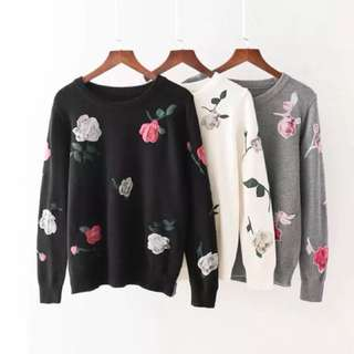 🌹 Printed flowers embroidered hedging sweater shirt🌹