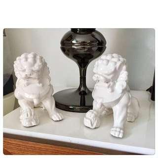 Blanc De Chine Lions Pair