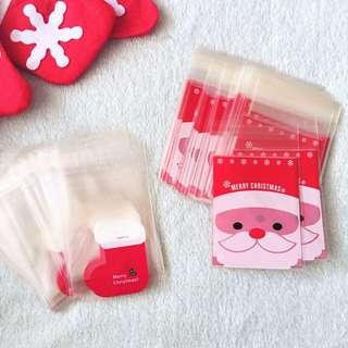 50 For RM8 !! 8*10cm+3cm Christmas Socks Self Adhe Cookies Bag