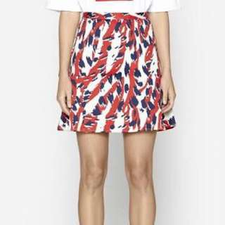 C&M by Camilla and Marc Majesty Print Frill Skirt in Red + White