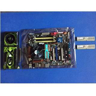 Asus P5Q-Deluxe Mobo + Core 2 Quad 2.83GHz CPU + 4GB Ram + XFX Geforce 260 card