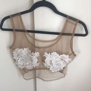 FESTIVAL DOOF SHEER MESH CROP TOP