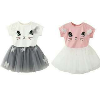 Cat Shirt With Tutu Skirt Set