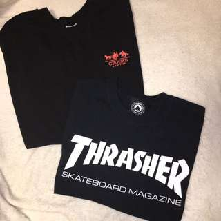 BUNDLE (Thrasher crop top % crooks and castle tee)