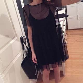 Black Sheer dress with slip - women's small