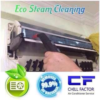 Aircon Service @ Pressured eco steam clean + general service